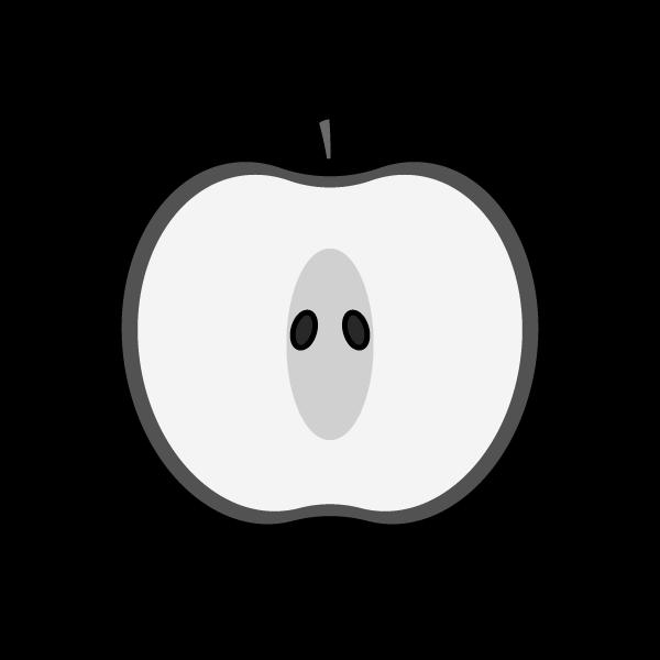 モノクロでかわいい半分に切ったりんごの無料イラスト・商用フリー