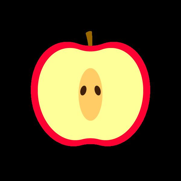 縁無しでかわいい半分に切ったりんごの無料イラスト・商用フリー