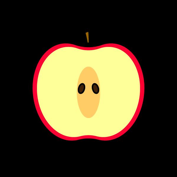 かわいい半分に切ったりんごの無料イラスト・商用フリー
