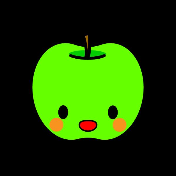 キャラクター風で笑顔のかわいい青りんごの無料イラスト・商用フリー