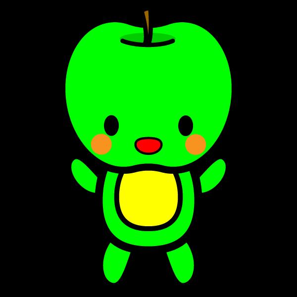 キャラクター風で笑顔のかわいい青りんご(全身)の無料イラスト・商用フリー