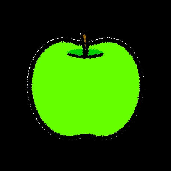 手書き風でかわいい青りんごの無料イラスト・商用フリー