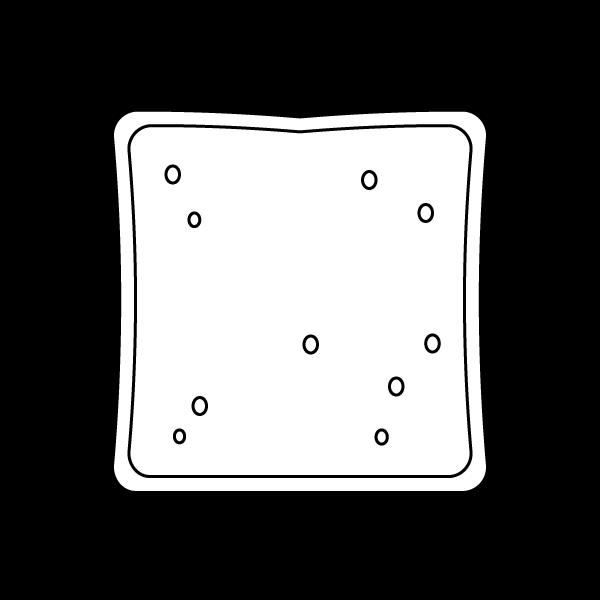 塗り絵に最適な白黒でかわいい食パンの無料イラスト・商用フリー