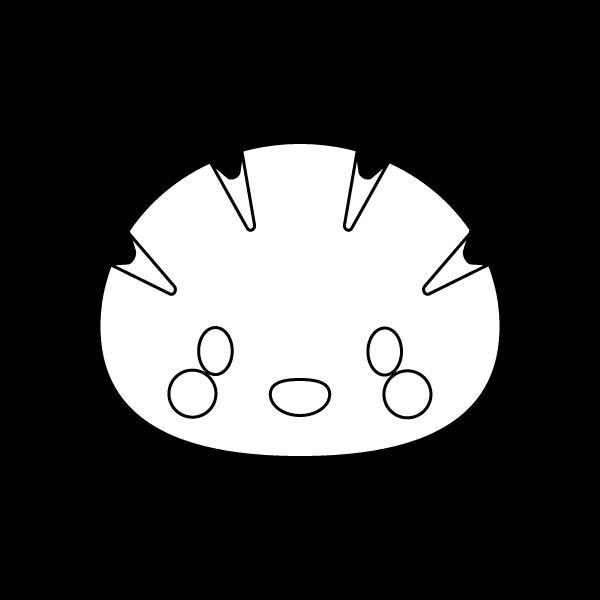 キャラクター風で笑顔のかわいいクリームパンのシロクロ無料イラスト・商用フリー