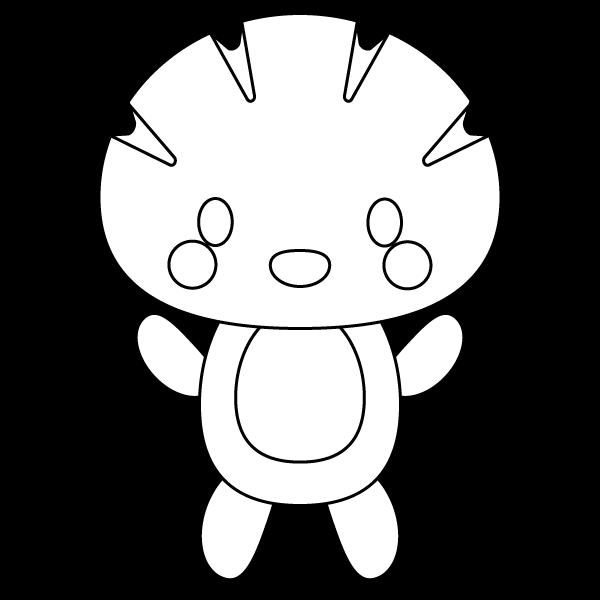 キャラクター風で笑顔のかわいいクリームパン(全身)のシロクロ無料イラスト・商用フリー