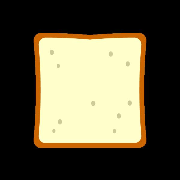 縁無しでかわいい食パンの無料イラスト・商用フリー