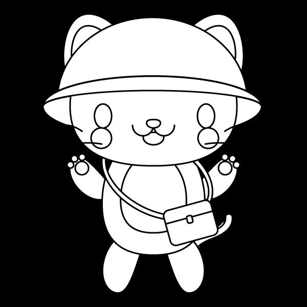 塗り絵に最適な白黒でかわいい保育、幼稚園児猫の無料イラスト・商用フリー