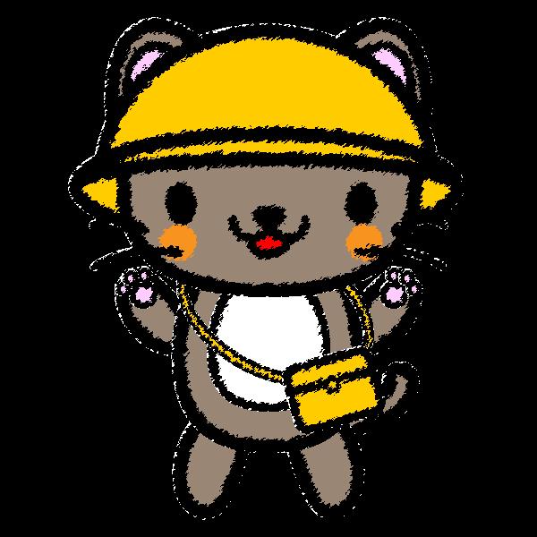 可愛い保育、幼稚園児猫(手書き風)