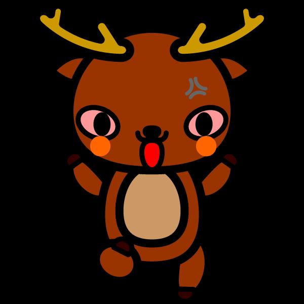 かわいい怒っている怒り顔の鹿の無料イラスト・商用フリー