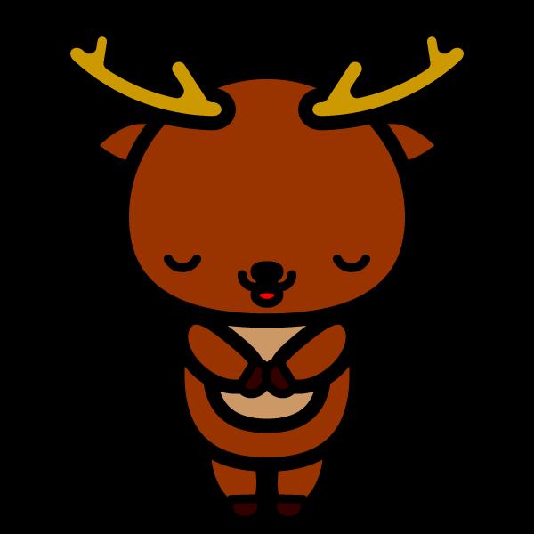かわいいお辞儀をしている鹿の無料イラスト・商用フリー