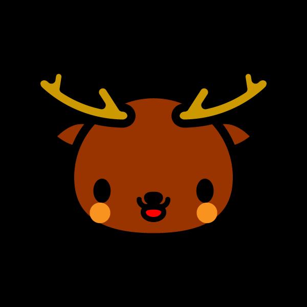 かわいい顔だけの鹿の無料イラスト・商用フリー