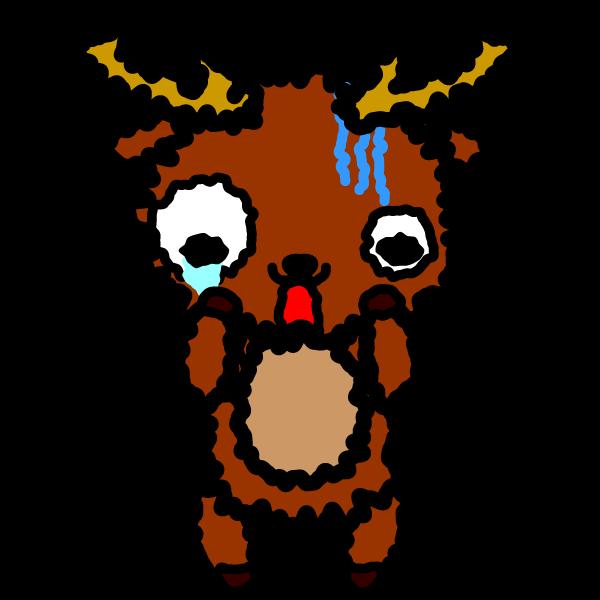 かわいいびっくり驚いている鹿の無料イラスト・商用フリー