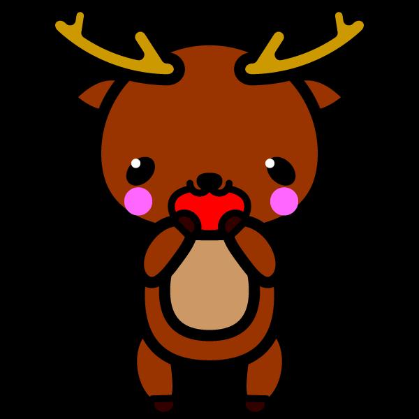 かわいい喜んでいる笑顔の鹿の無料イラスト・商用フリー