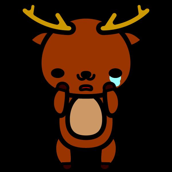 かわいい哀しんでいる泣き顔の鹿の無料イラスト・商用フリー