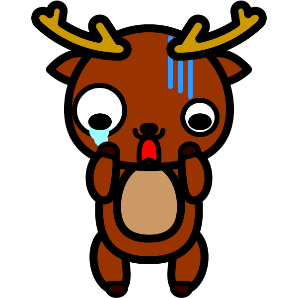 かわいいガーン!と困っている鹿の無料イラスト・商用フリー