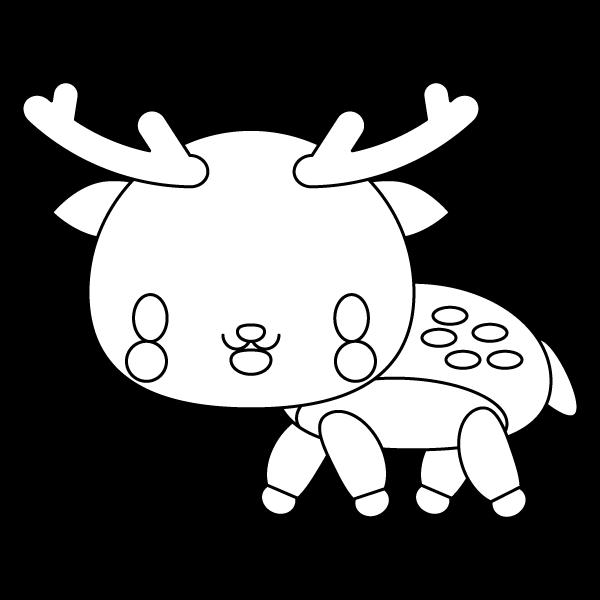 塗り絵に最適な白黒でかわいい鹿の無料イラスト・商用フリー