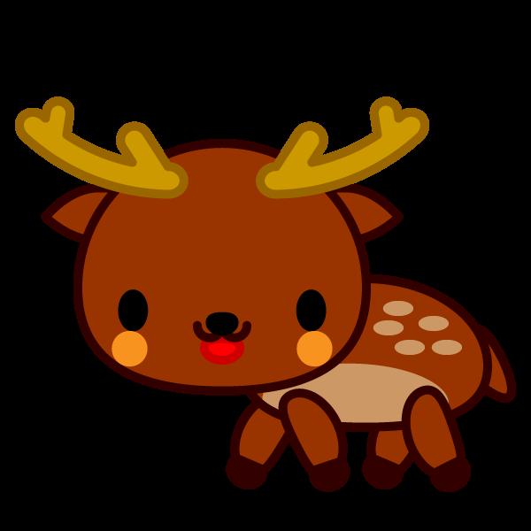 ソフトタッチでかわいい鹿の無料イラスト・商用フリー