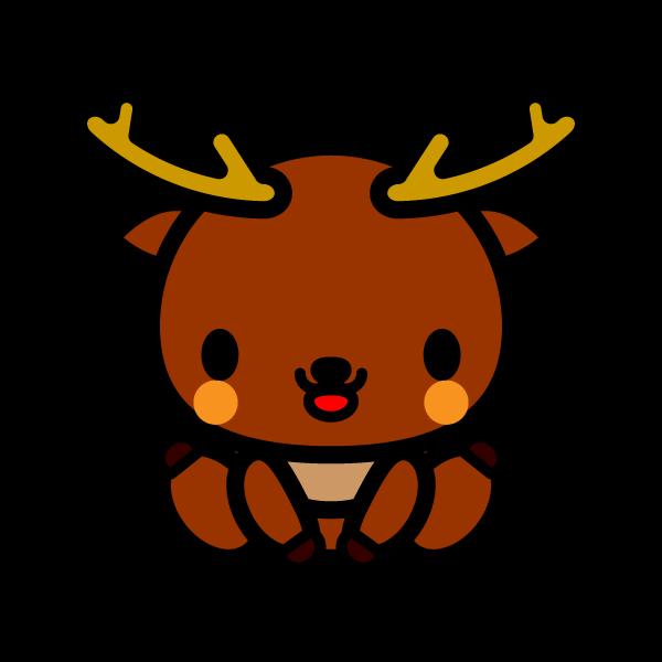 かわいい座っている鹿の無料イラスト・商用フリー