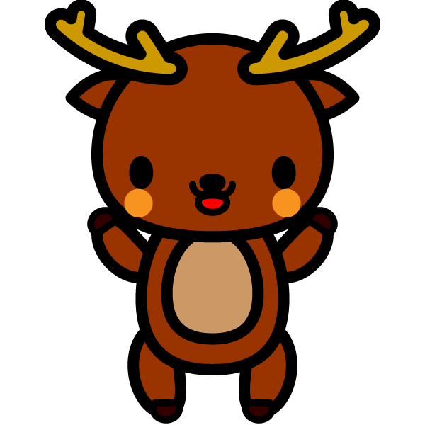 かわいい立っている鹿の無料イラスト・商用フリー