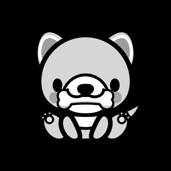 可愛い犬と骨(モノクロ)