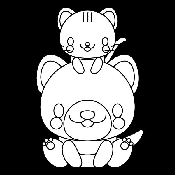 可愛い犬と猫(白黒・塗り絵)
