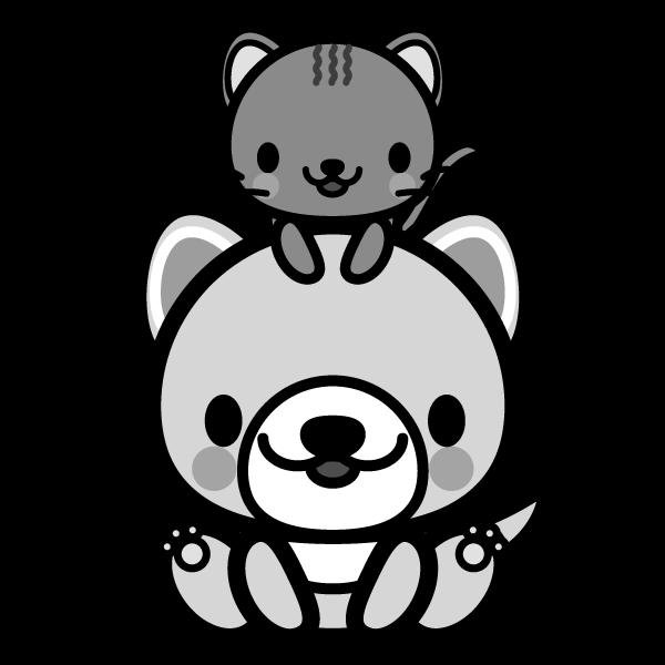 モノクロでかわいい犬と猫の無料イラスト・商用フリー