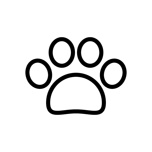 可愛い犬の足跡(白黒)