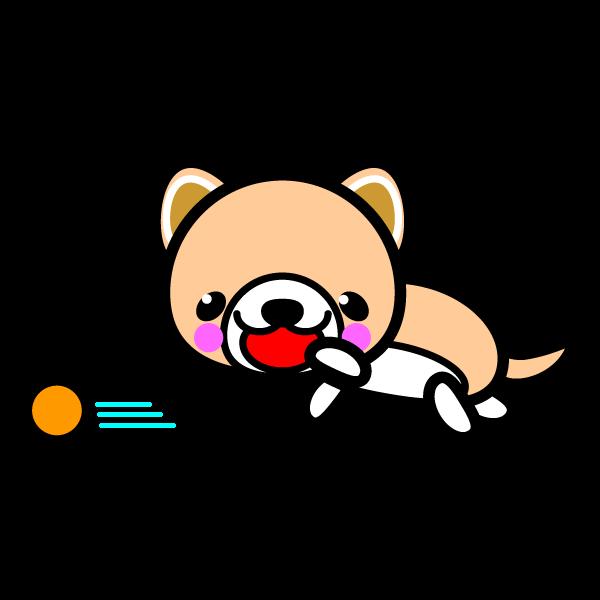 かわいいボールで遊ぶ犬の無料イラスト・商用フリー