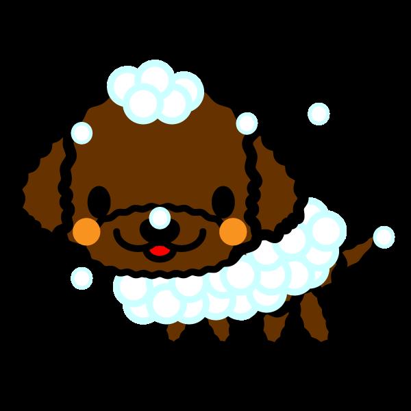 かわいいシャンプー中の犬の無料イラスト・商用フリー