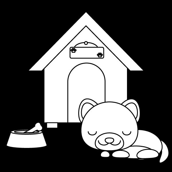 塗り絵に最適な白黒でかわいい眠っている犬の無料イラスト・商用フリー