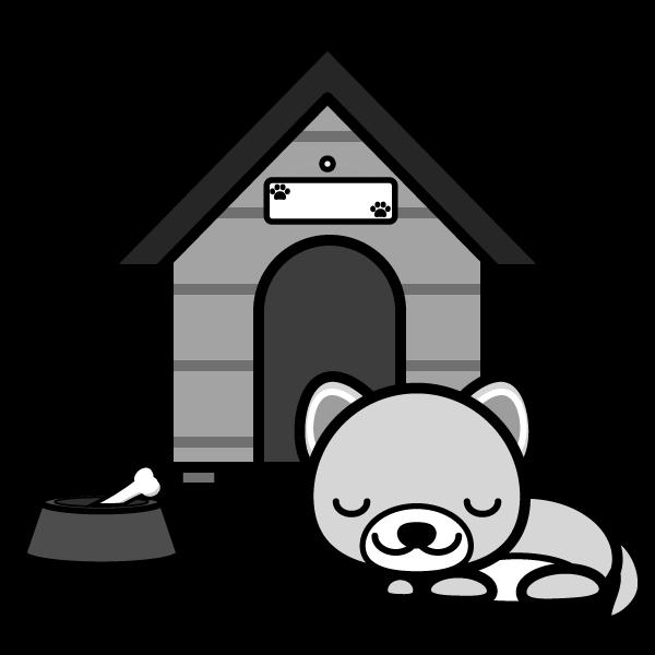 モノクロでかわいい眠っている犬の無料イラスト・商用フリー