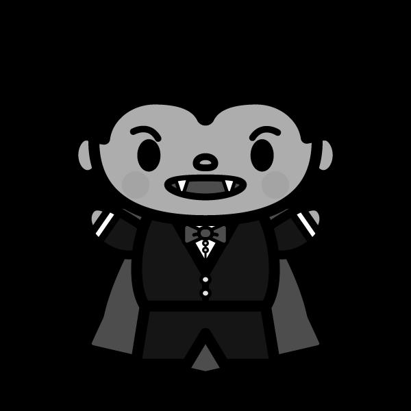 モノクロでかわいいドラキュラ(吸血鬼)おにぎりの無料イラスト・商用フリー