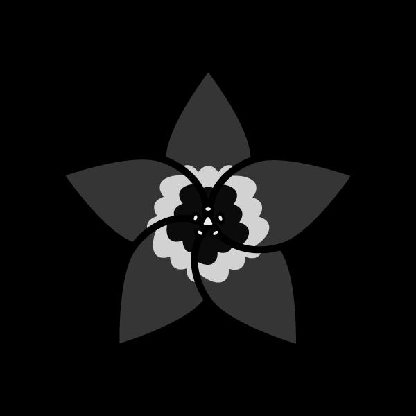 モノクロでかわいいりんどうの花の無料イラスト・商用フリー