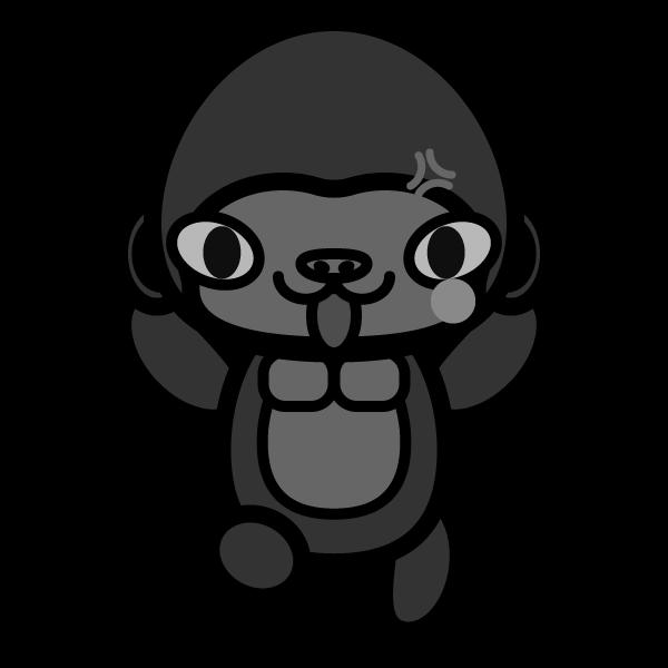 gorilla_angry-monochrome
