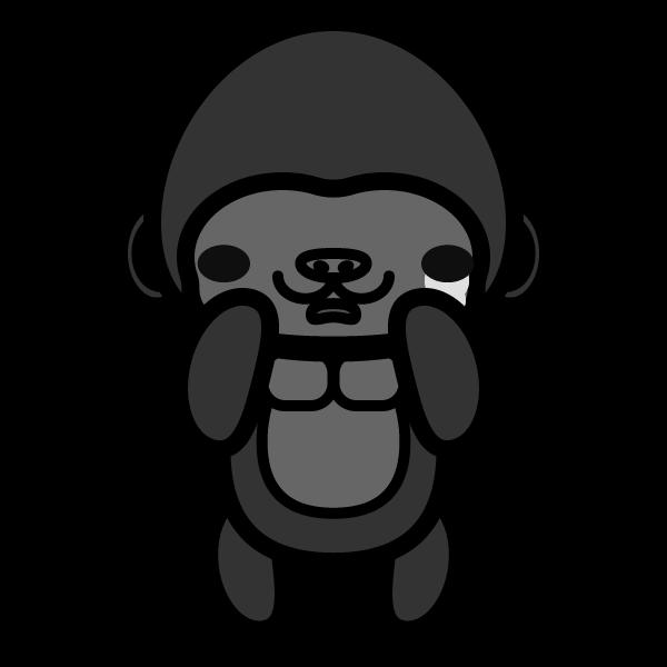 gorilla_sad-monochrome