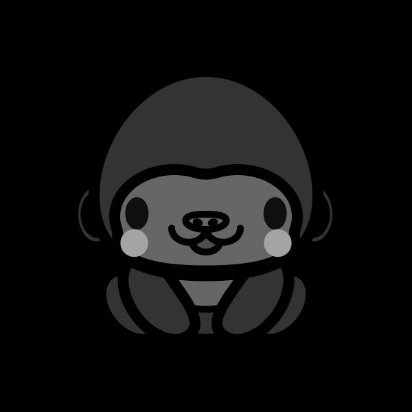 gorilla_sit,monochrome