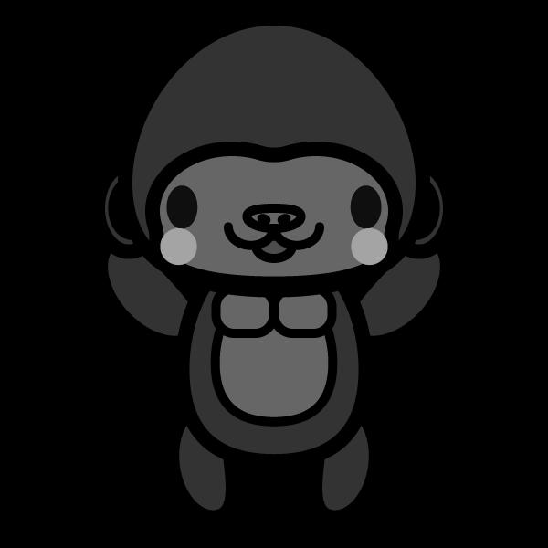 gorilla_stand-monochrome