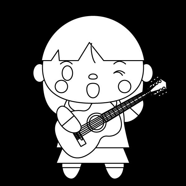 塗り絵に最適な白黒でかわいいギターを弾く女の子の無料イラスト・商用フリー
