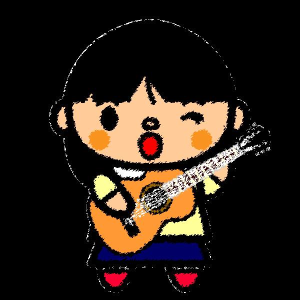 手書き風でかわいいギターを弾く女の子の無料イラスト・商用フリー