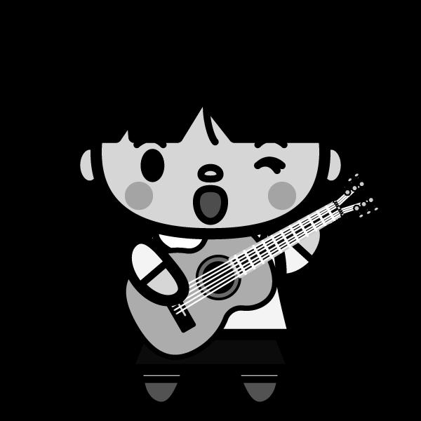 モノクロでかわいいギターを弾く女の子の無料イラスト・商用フリー