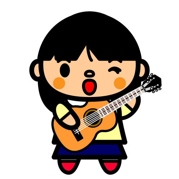 かわいいギターを弾く女の子の無料イラスト・商用フリー