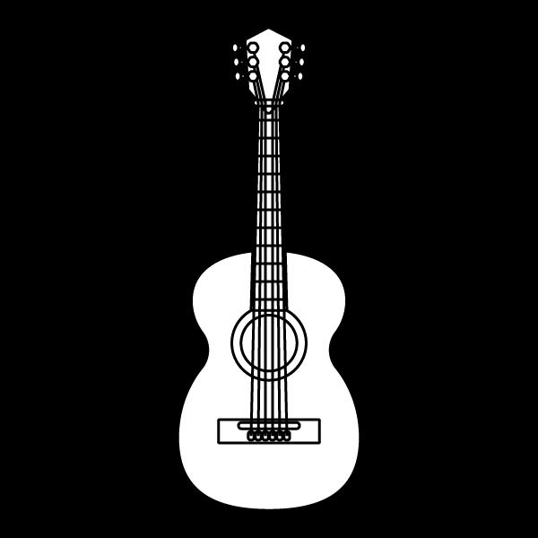 塗り絵に最適な白黒でかわいいアコースティックギターの無料イラスト・商用フリー