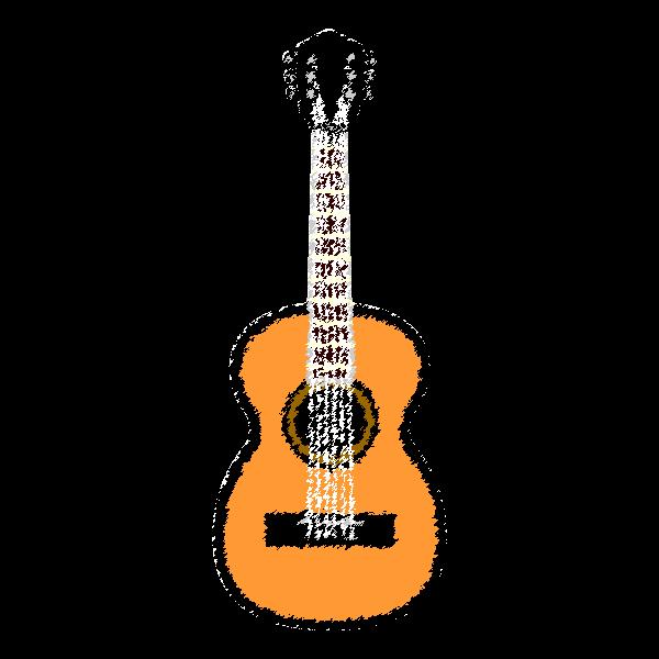 手書き風でかわいいアコースティックギターの無料イラスト・商用フリー