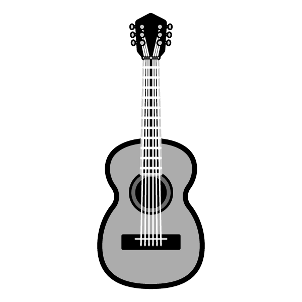 モノクロでかわいいアコースティックギターの無料イラスト・商用フリー