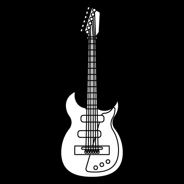 塗り絵に最適な白黒でかわいいエレキギターの無料イラスト・商用フリー