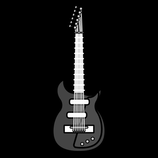 モノクロでかわいいエレキギターの無料イラスト・商用フリー