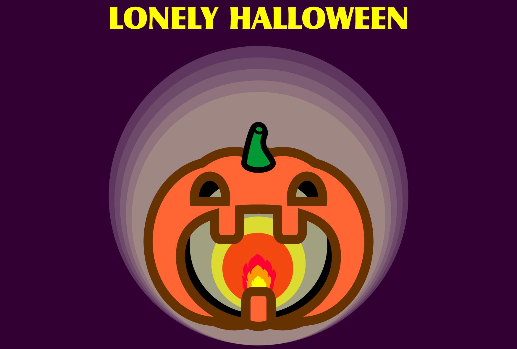 かわいいロンリーハロウィンメッセージカードの無料イラスト・商用フリー