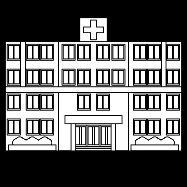 塗り絵に最適な白黒でかわいい病院の無料イラスト・商用フリー
