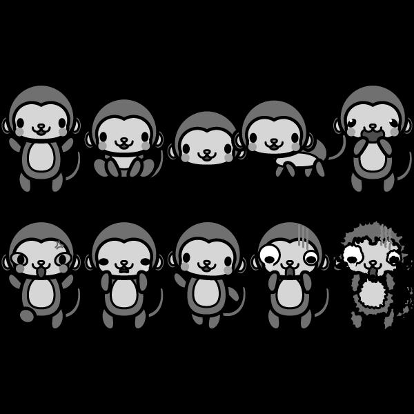 モノクロでかわいい猿の無料イラスト・商用フリー