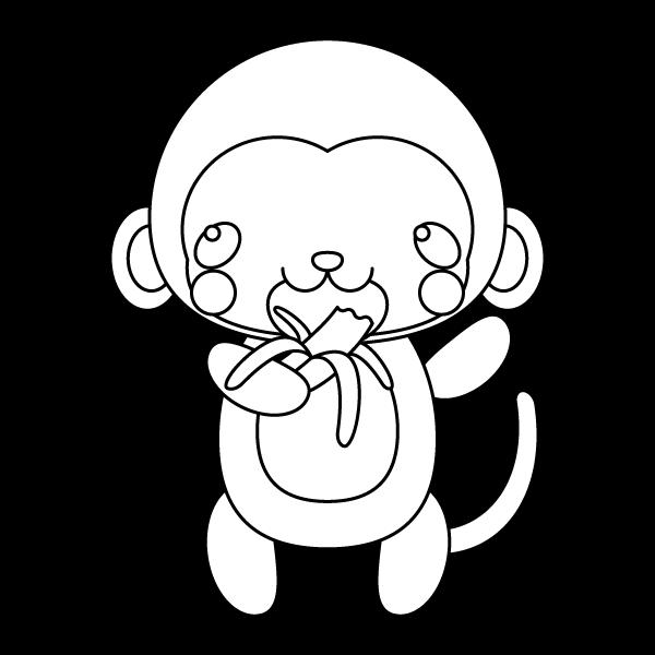 塗り絵に最適な白黒でかわいいバナナを食べる猿の無料イラスト・商用フリー